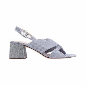J Crew Twisted Knot Stripe Glitter Heel Sandal